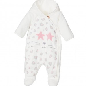 LITTLE MARC JACOBS Girls Ivory Spotty Plush Cat Snowsuit with Hood