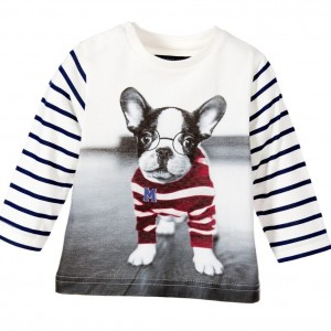 MAYORAL Baby Boys Ivory Striped Top with Dog Print