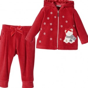 MAYORAL Baby Girls Red Cotton Velour Tracksuit