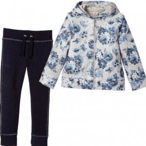 MAYORAL Girls Grey & Blue Floral Cotton Jersey Tracksuit
