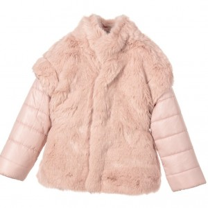 MAYORAL Girls Pink Synthetic Fur Jacket
