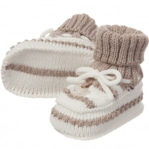 MAYORAL NEWBORN Ivory & Beige Striped Cotton Knitted Bootees