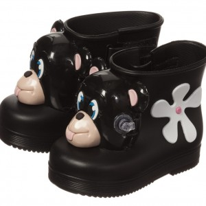 MINI MELISSA Short Black Rain Boots with Monkey