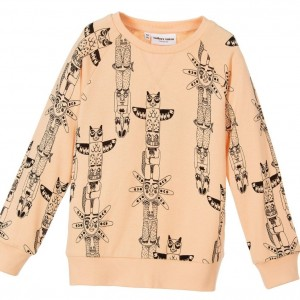 MINI RODINI Girls Apricot Pink 'Totem' Organic Cotton Sweatshirt