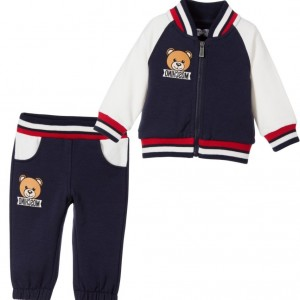 MOSCHINO BABY Baby Navy Blue Cotton Jersey Tracksuit with Teddy