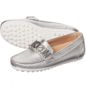 MOSCHINO KID-TEEN Silver Leather Mocassins