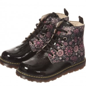NATURINO Girls Black Patent & Floral Boots