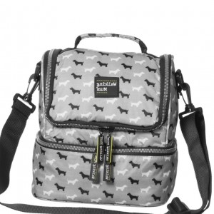 PASITO A PASITO WALKING MUM Grey Dog Print Insulated Shoulder Bag