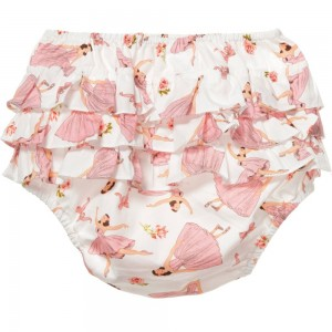 POWELL CRAFT Baby Girls Pink 'Ballerina' Frilly Knickers