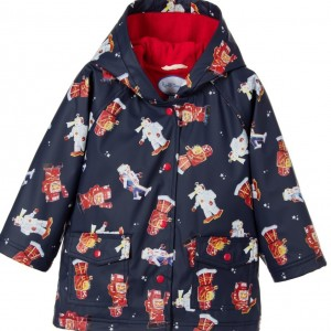 POWELL CRAFT Boys Navy Blue Robot Print Raincoat