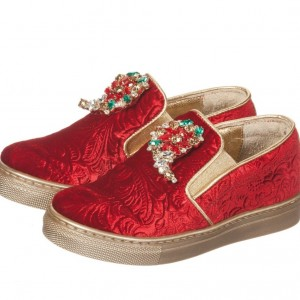 QUIS QUIS Girls Red Brocade Slip-On Shoes With Jewels