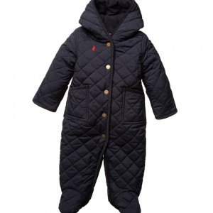 RALPH LAUREN Baby Boys Blue Quilted Pramsuit