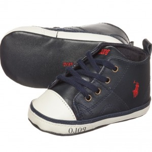 RALPH LAUREN Navy Blue Pre-Walker High-Top Trainers