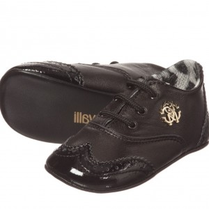 ROBERTO CAVALLI Baby Boys Black Leather Brogue Shoes