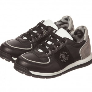 ROBERTO CAVALLI Boys Black Leather & Grey Suede Trainers