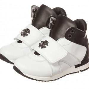 ROBERTO CAVALLI Boys Black & White Leather High-Top Trainers