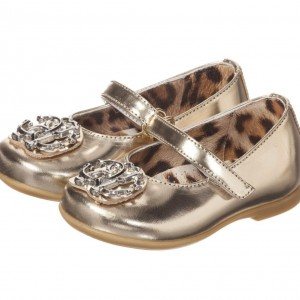 ROBERTO CAVALLI Girls Metallic Gold & Silver 'RC' Leather Shoes