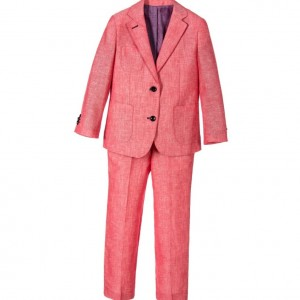 ROMANO Boys Red Linen-Look Two Piece Suit