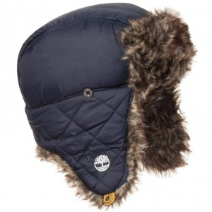 TIMBERLAND Boys Blue Fur Trimmed Hat