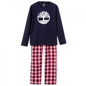 TIMBERLAND Boys Navy Blue & Red Cotton Pyjamas