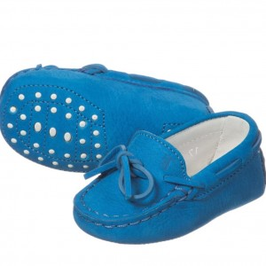 TOD'S Baby Blue Suede Leather 'Gommini' Moccasins