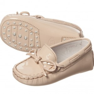 TOD'S Pale Patent Pink Leather 'Gommini' Baby Moccasins