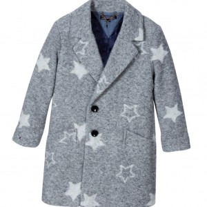 TOMMY HILFIGER Girls Grey Wool Coat with Stars