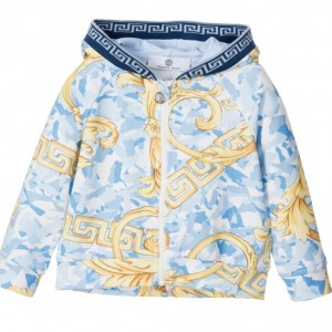 YOUNG VERSACE Baby Boys Blue 'Baby Camouflage' Zip Up Top