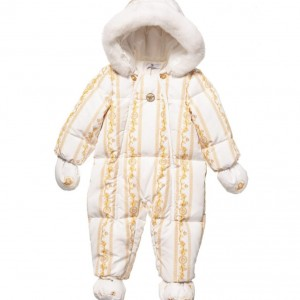 YOUNG VERSACE Baby Girls 'Cornici' Down Padded Snowsuit with Fur