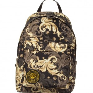 YOUNG VERSACE Gold & Black Barocco Backpack