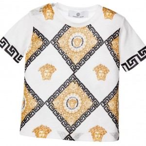 YOUNG VERSACE Ivory & Gold Print Logo Check T-Shirt