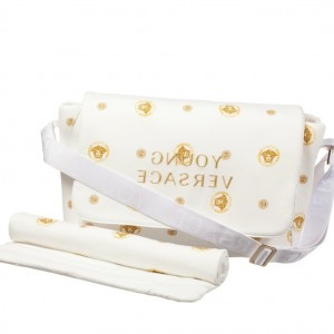 YOUNG VERSACE White & Gold Medusa Baby Changing Bag & Mat