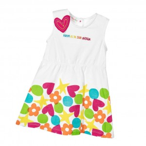 AGATHA RUIZ DE LA PRADA Girls White Dress with Hearts & Flowers