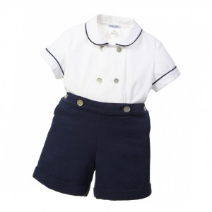 ANCAR Boys Ivory & Navy Blue Buster Suit