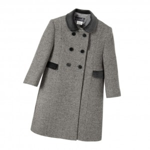 ANCAR Classic Grey Wool Coat with Velvet Collar