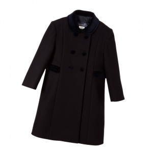 ANCAR Classic Navy Blue Wool Coat with Velvet Collar
