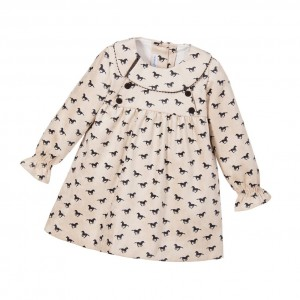 ANCAR Girls Beige Horse Dress