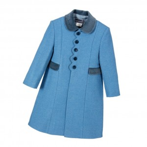 ANCAR Girls Blue Wool Coat with Velvet Trims