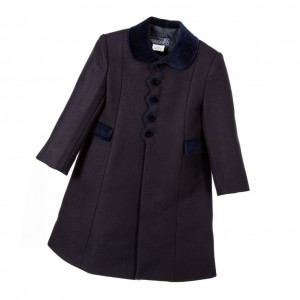ANCAR Girls Blue Wool Coat with Velvet Trims1