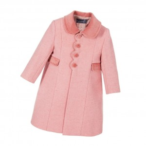 ANCAR Girls Pink Wool Coat with Velvet Trims
