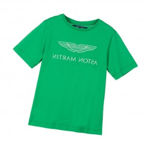 ASTON MARTIN Boys Green Cotton Logo T-Shirt