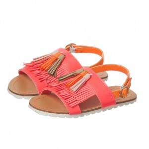 BILLIEBLUSH Girls Neon Pink Fringed Sandals