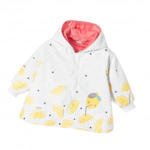 CATIMINI Baby Girls White & Lemon Print Coat