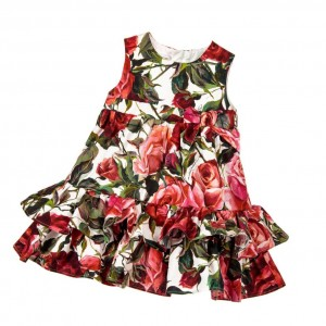 DOLCE & GABBANA Baby Girls Red & Pink Roses Dress