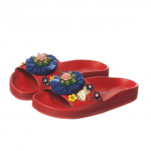 DOLCE & GABBANA Girls Red Leather Slip-On Sandals