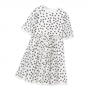 DOLCE & GABBANA Girls White Polka Dot Silk Dress
