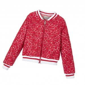 ERMANNO SCERVINO Girls Red Lace Bomber Jacket