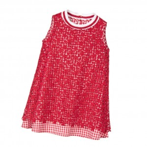 ERMANNO SCERVINO Girls Red Lace & Gingham Dress