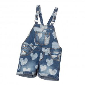 IDO BABY Baby Girls Printed Denim Dungarees