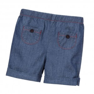 LARANJINHA Blue Chambray Baby Shorts